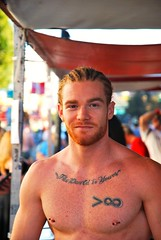 The Gingerbread Man! (Little Italy Photography) Tags: sanfrancisco costumes men leather tooth ginger nikon muscle bare chest events spice gap streetfairs movies redheads neighborhoods folsomstreetfair gingerbreadman hairychest gapteeth firery nikond60 folsomleatherfestival jamesjamesson sexygapsmile