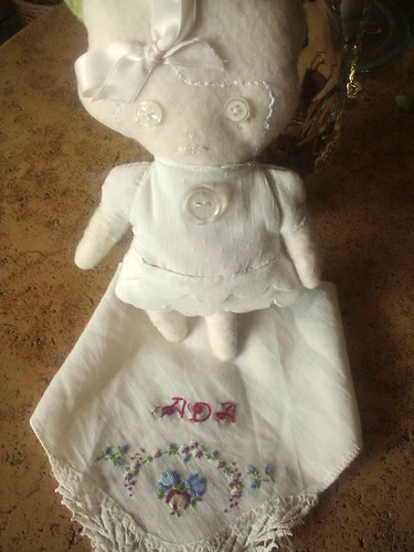the raggedy ghost with my custom vintage handkerchief by drucilla pettibone