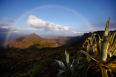 "A moment at Masca, the ""hidden"" village (blinkingidiot) Tags: morning light cactus sun landscape dawn early rainbow village angle wide hidden tenerife foreground masca"