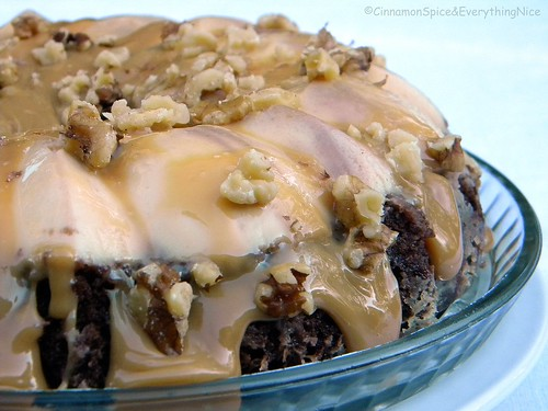 Chocoflan with Dulce de Leche and Walnuts