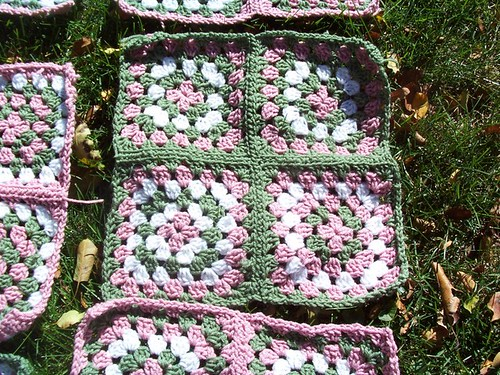 Pink & Green Granny Closeup Progress