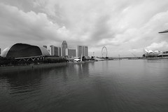 BW shot of Marina Bay (Swami Stream) Tags: water singapore cityscape wideangle esplanade marinabay oceean canon7d swamistreamcom sigma1020mmf35lens
