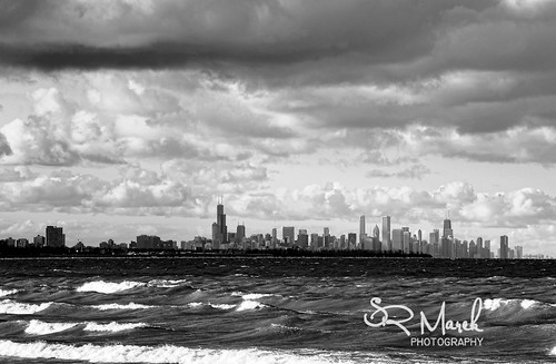 Looming storm Chicago skyline