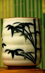 Tea Cup Still Life (tropicalart77 (Tammy Dial Gray)) Tags: wood light white black green art cup yellow asian photography photo nikon hand natural tea painted bamboo pottery d80