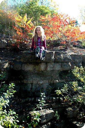 Sarah climbs the ruins