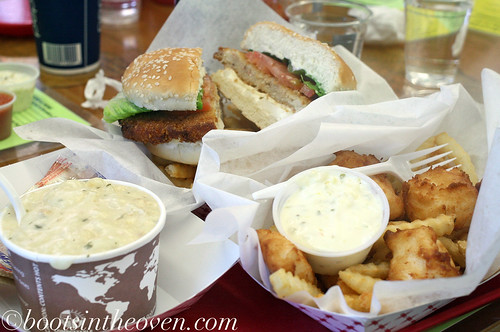 A crab burger, halibut and chips, and clam chowder