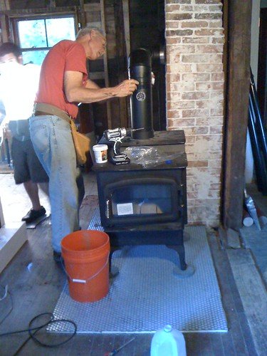 installing & cementing the stove pipe