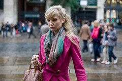 Hot pink (Gary Kinsman) Tags: london canon5d bokeh canon50mmf14 candid street photography life pink coat coventgarden wc2 piazza square market hot f2 portrait 2010 people person
