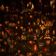 later that night or where is Waldo? (barbera*) Tags: roof people toronto reflection mirror faces cityhall stage crowd nuitblanche daniellanois 2010 barbera multimediainstallation 0507a laterthatnightatthedrivein