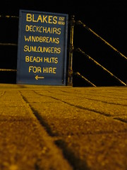 Ventnor - Blakes est 1830 (Dubris) Tags: england sign night seaside vectis ventnor isleofwight beachhuts deckchairs blakes 1830 sunloungers windbreaks