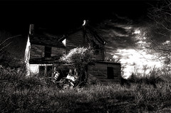 We'll Leave The Light On For Ya! (Baab1) Tags: nightphotography blackandwhite bw rot halloween monochrome sepia clouds nikon raw shadows decay maryland wideangle spooky hauntedhouse abandonedbuildings derelictbuildings d300 southernmaryland iphotooriginal hauntedhouses abandonedhouses farmhouses iphotoedited calvertcountymaryland abigfave niksoftware oldfarmhouses loujones spookyhouses huntingtownmaryland calvertcountyhauntedhouses tokina1116