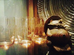 Curio Vignette (Sweet.Eventide) Tags: brown glass peach curio depressionglass woodenfigure poppytalk autumncolourweek