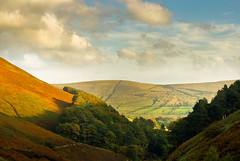 The Fading Light of the English Countryside (On the mountain at dawn) Tags: autumn trees light sunset summer sky sun fall nature beautiful clouds landscape golden colorful colours shadows seasons view district derbyshire hill peak scout kinder explore valley vista colourful fading edale grindsbrook