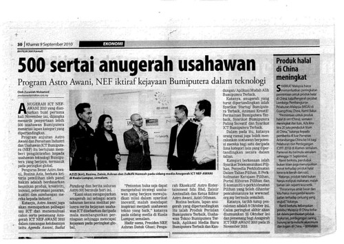 Media Report -- Berita Harian Sep 9, 2010