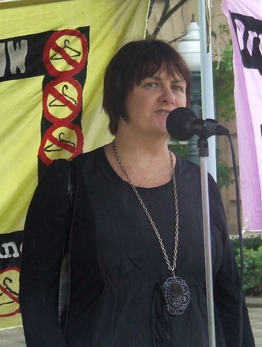 Mararet Lee of the National Tertiary Education Union speaks at the Pro Choice Rally, Queens Park, George and Elizabeth Sts, Brisbane, Queensland, Australia 101009
