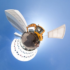 Planet Euroborg (Frenklin) Tags: blue sky panorama tower pano towers panoramas 360 fisheye projection planet groningen 8mm residential stoker stad excavator europapark 360degrees stereographic graafmachine euroborg fcgroningen samyang brander littleplanet 360graden stokerbrander stokerenbrander
