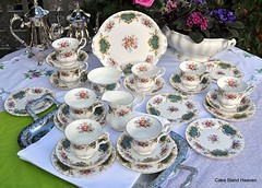 Royal Albert Berkeley Tea Set (cake-stand-heaven) Tags: vintage teacups afternoontea teaparty teaset saucers tealgreen cakeplate teaplates
