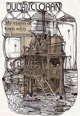 TOWN WITH NO HOMELESS (MY VISION FOR ONE) (Narolc) Tags: city uk summer bw abstract art strange collage seaside brighton flickr drawing text homeless newspapers structures surreal westpier visual journalism visualart argus satirical sparklingheart sharingart narolc juliancloran