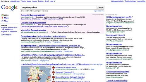 Huidige Google Maps integratie in zoekresultaten
