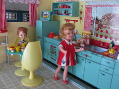 I will have some milk! (Retro Mama69) Tags: kitchen vintage puppy table miniature chairs retro marx shelves remcodoll roombox rements vintagetintoy miniaturekitchen prettymaid toydiorama pennybritedoll tuttidoll kitchendiorama metalkitchentoy 1950ss yellowandturquoisekitchen