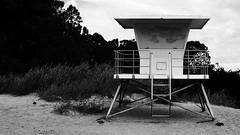 beachtower2 (mgphotog) Tags: bw santacruz black tower beach clouds daylight blackwhite sand overcast lifeguard desaturated naturalbridges lifeguardtower
