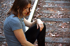 IMG_5353 (Dan | Hacker | Photography) Tags: pose outdoors model shiny highheels durham traintracks northcarolina latex leggings