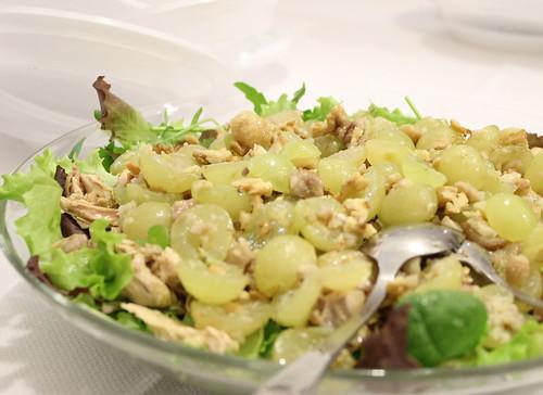 insalata di faraona con castagne e uva
