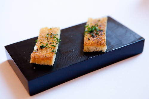 Black truffle butter chive toasts