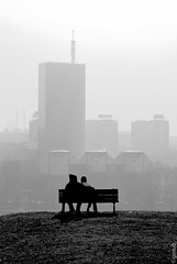 autumn outlook - gosub (gosub) Tags: autumn shadow blackandwhite bw bench couple serbia belgrade usce kalemegdan novibeograd uetower