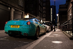 Sitting Down a Back Alley. (Alex Penfold) Tags: london cars alex sports car canon photography photo cool image turquoise awesome picture fast super ferrari exotic photograph arab supercar exotica 2010 supercars   arabs penfold   599     althani   450d     hpyer