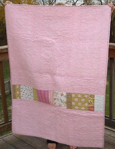 pink/green charity quilt back