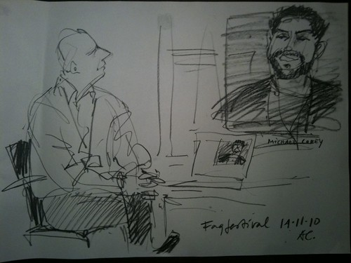 Drawing of Mike Corey in a Skype-presentation with Nils Mulvad sitting beside.