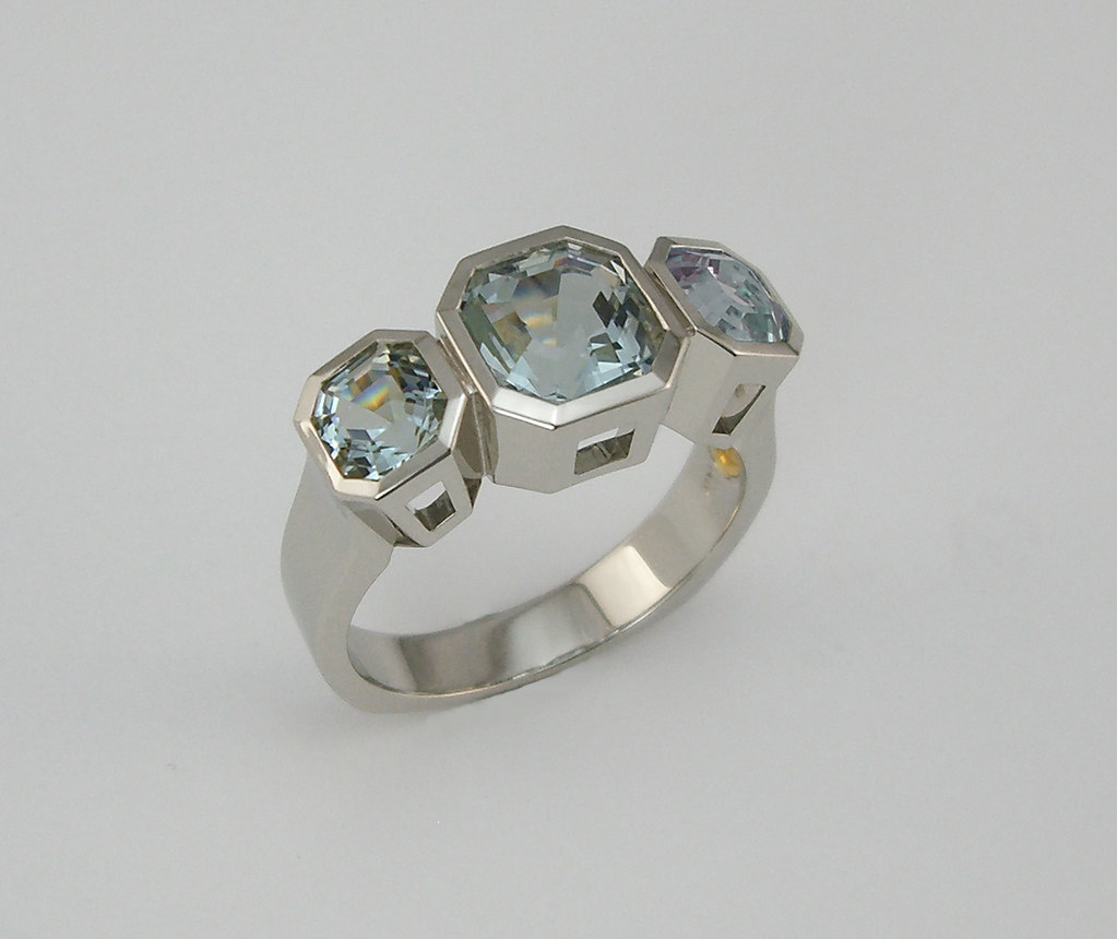 14K Torraca Asschers Aqua Ring / 1