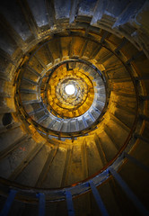 Inside the Monument (Semi-detached) Tags: city light london geometric monument stairs spiral fire glow view geometry interior great christopher east wren smithfield internal the
