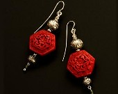 Chinese red cinnabar,Thai silver earrings