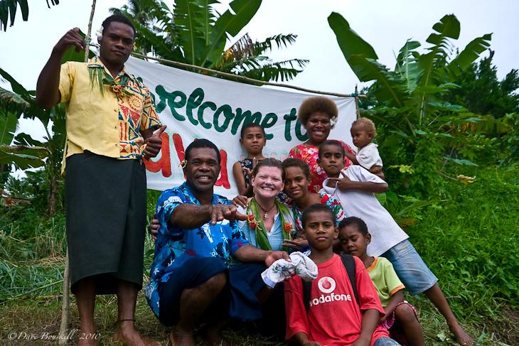 children greet us at Tuvu village in Fiji