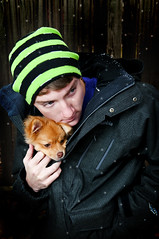 Miles and Cooper (Ian Fidino!) Tags: camera light portrait dog cold colors photoshop portraits dark puppy photography lights nikon colorful bokeh portait jacket adobe cooper miles jackets strobe mcad strobist d300s fidino