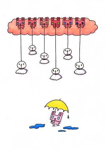 群衆絵_てるてるむーと雨上がりの四角うさぎ
