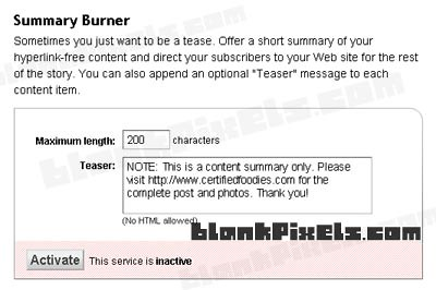 Summary Burner on Feedburner - blankpixels.com