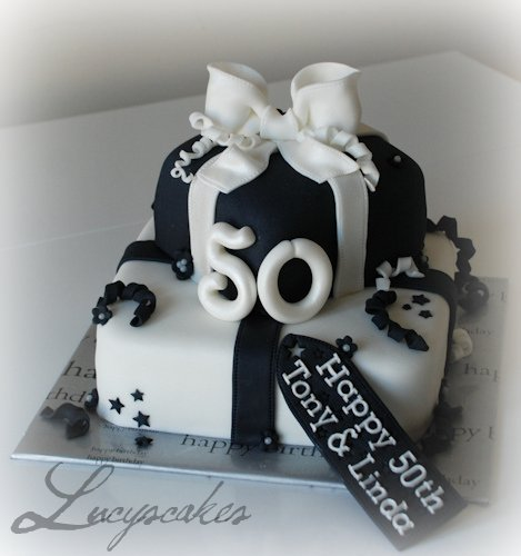 black and white 50th birthday cake. visit me and LIKE my facebook page!