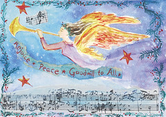 Rejoice (ian_kindle) Tags: christmas music holiday angel watercolor season stars star peace notes seasonal trumpet wreath evergreen greeting rejoice goodwill