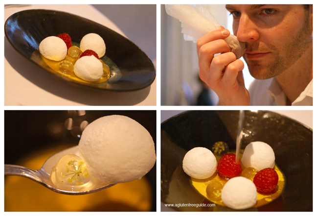 Floating profiteroles with gin-soup and frozen raspberries and cardamom at El Bulli