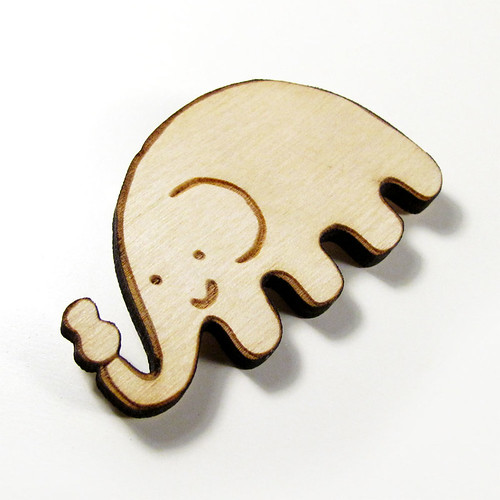Elephant Wood Pin 3