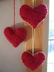 Felted Sweater Heart Ornaments