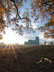 A New Dawn (anologital) Tags: uk greatbritain morning autumn light england colour tree church saint sunrise landscape oak mary northamptonshire olympus stmary zuiko northants 1122 uplands fawsley zd esystem e410
