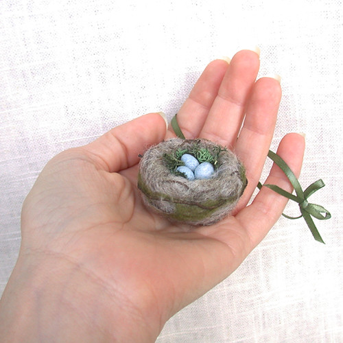 needle felted nest ornament