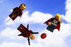 Hero Fly Fail (jezbags) Tags: lego legos toys toy minifigure minifigures macro macrophotography macrodreams macrolego canon60d canon 60d 100mm closeup upclose marvel marvelstudios ironman thor deadpool face burnt mask flying cloud sky
