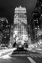Helmsley Building, Park Avenue (melfoody) Tags: newyork newyorkcity nyc building architecture skyscraper night blackwhite bw monochrome longexposure tripod america parkavenue melfoody canon urban lighttrails city usa