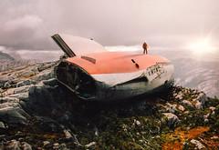 Survivor (Ramin Hossaini) Tags: mountain landscape sky mountains rock clouds cloud hill valley crash plane survivor composite