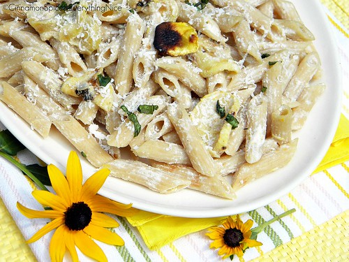 Lemon Ricotta Penne with Yellow Squash